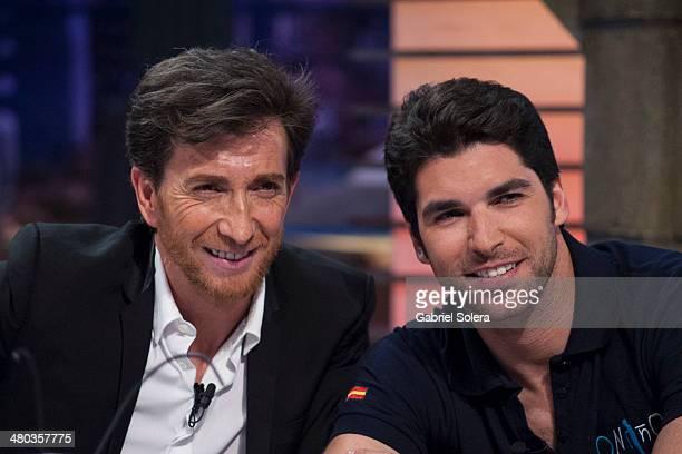 Pablo Motos and Cayetano Rivera attend 'El Hormiguero' Tv Show on March 24 2014 in Madrid Spain