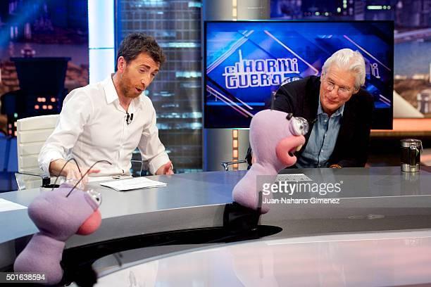 Pablo Motos and Richard Gere attend 'El Hormiguero' Tv show at Vertice Studio on December 16, 2015 in Madrid, Spain.