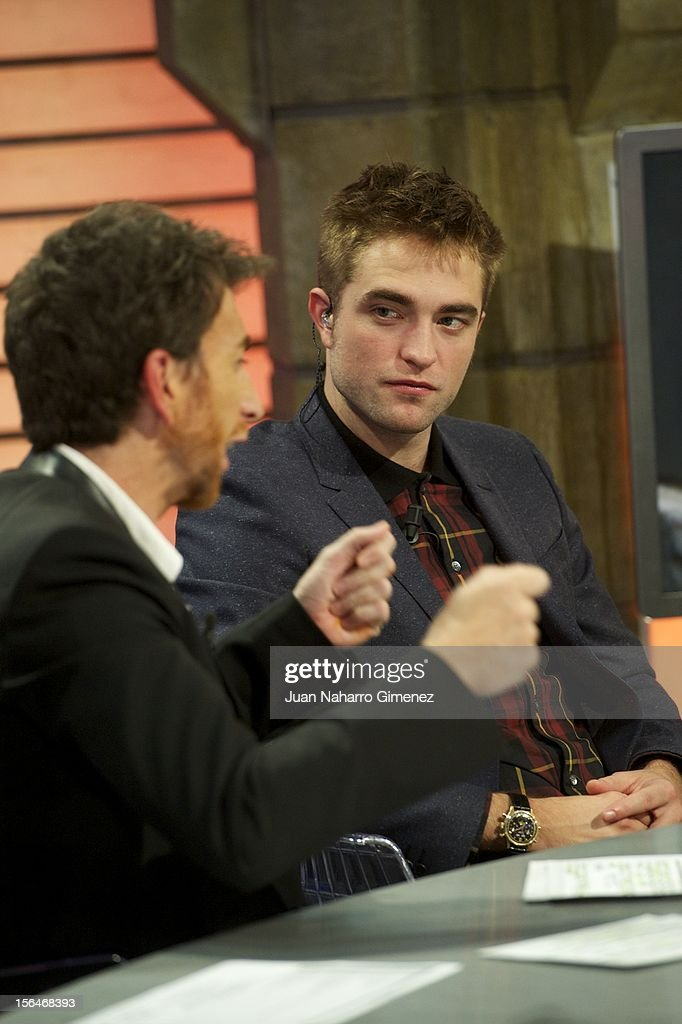 Pablo Motos and Robert Pattinson attend 'El Hormiguero' Tv show at Vertice Studio on November 15, 2012 in Madrid, Spain.