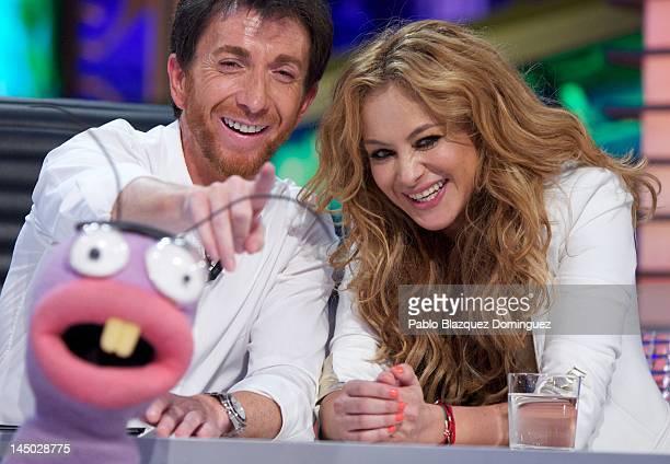 "Pablo Motos and singer Paulina Rubio attend ""El Hormiguero"" TV Show at Vertice Studios on May 22, 2012 in Madrid, Spain."