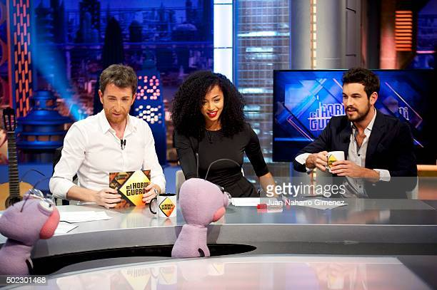 Pablo Motos Berta Vazquez and Mario Casas attend 'El Hormiguero' Tv show at Vertice Studio on December 22 2015 in Madrid Spain
