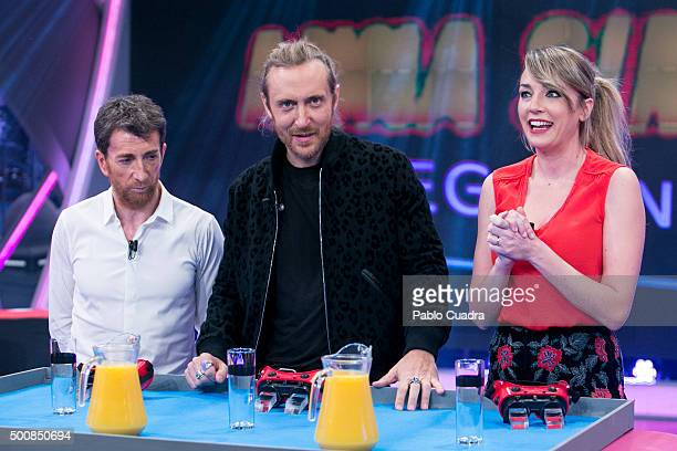 Pablo Motos, David Guetta and Anna Simon attend 'El Hormiguero' Tv Show at Vertice Studio on December 10, 2015 in Madrid, Spain.