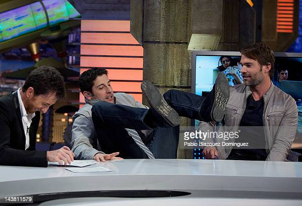Pablo Motos Jason Biggs and Seann Willian Scott attend 'El Hormiguero' Tv Show at Vertice Studios on May 3 2012 in Madrid Spain