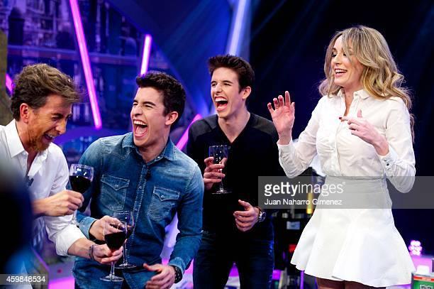 Pablo Motos, Marc Marquez, Alex Marquez and Anna Simon attend The Hormiguero Tv show at Vertice Estudio on December 2, 2014 in Madrid, Spain.