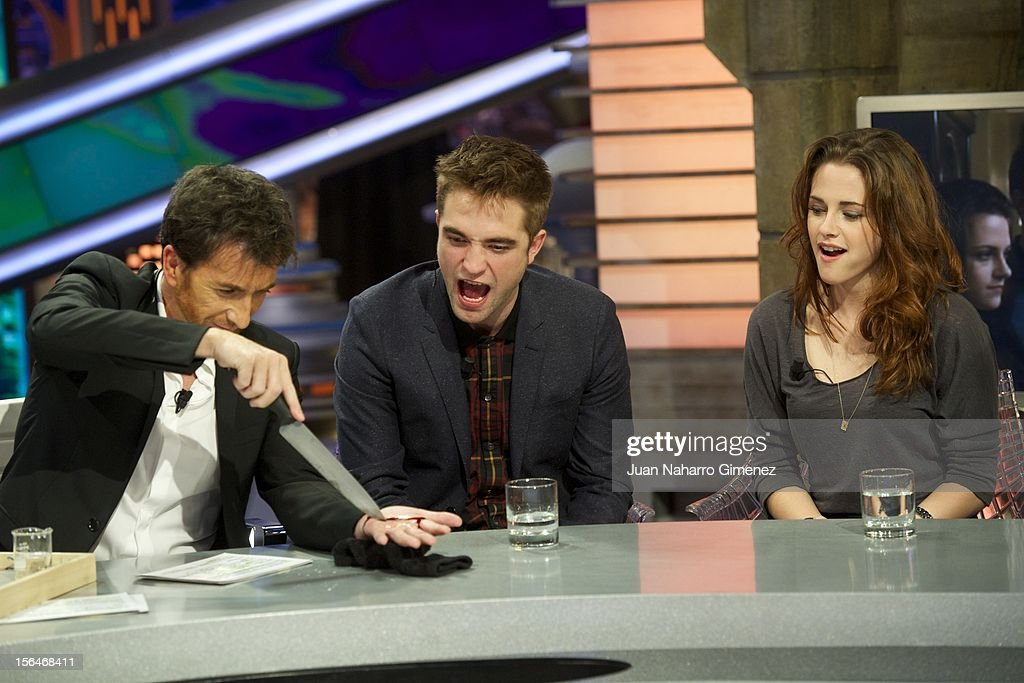 Pablo Motos, Robert Pattinson and Kristen Stewart attend 'El Hormiguero' Tv show at Vertice Studio on November 15, 2012 in Madrid, Spain.