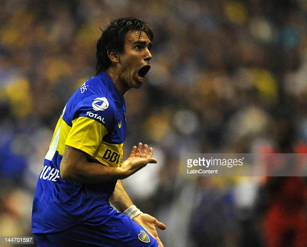 Pablo Mouche celebrates his goal against Fluminense during a match as part of the Santander Libertadores Cup at Alberto J Armando Stadium on Mayo 17...
