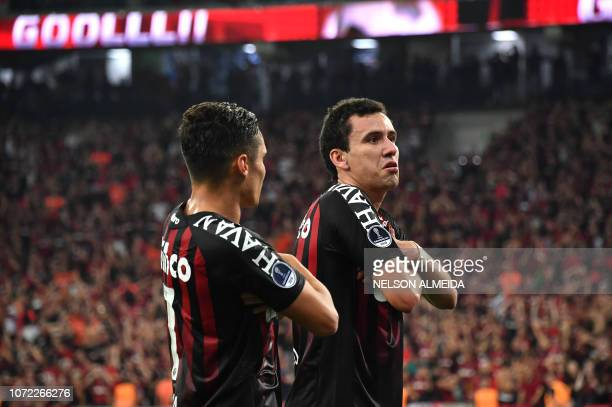 Pablo of Brazils Atletico Paranaense celebrates after scoring against Colombia's Junior during their 2018 Copa Sudamericana final football match held...