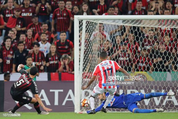 Pablo of Brazils Atletico Paranaense shoots to score against Colombia's Junior during their 2018 Copa Sudamericana final football match held at Arena...