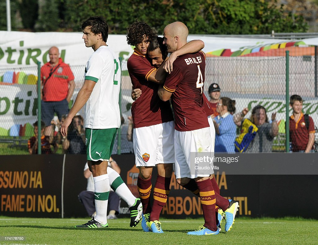 Pablo Osvaldo of AS Roma (C) celebrates scoring the first goal during the pre-season friendly match between AS Roma and Bursaspor Kulubu on July 21, 2013 in Bruneck, Italy.