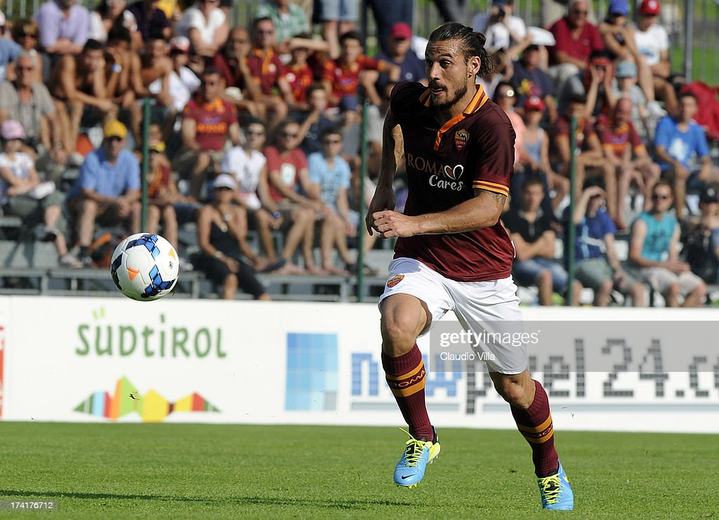 Pablo Osvaldo of AS Roma in action during the pre-season friendly match between AS Roma and Bursaspor Kulubu on July 21, 2013 in Bruneck, Italy.