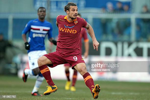 Pablo Osvaldo of AS Roma in action during the Serie A match between UC Sampdoria and AS Roma at Stadio Luigi Ferraris on February 10 2013 in Genoa...