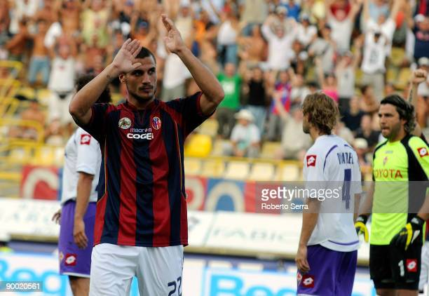 Pablo Osvaldo of Bologna celebrates after scoring the opening goal of the Serie A match between Bologna and Fiorentina at the Renato Dall'Ara Stadium...