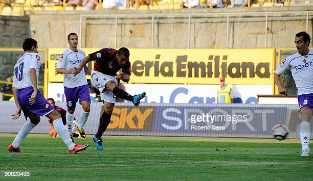 Pablo Osvaldo of Bologna kicks on goal during the Serie A match between Bologna and Fiorentina at the Renato Dall'Ara Stadium on August 22 2009 in...
