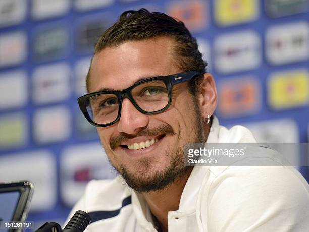 Pablo Osvaldo of Italy during a press conference at Coverciano on September 5 2012 in Florence Italy