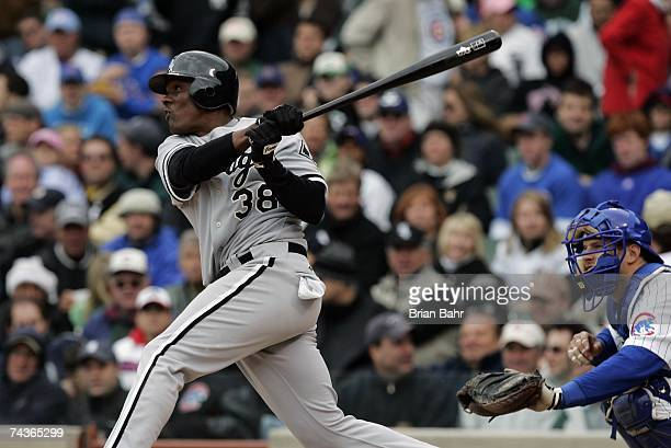 Pablo Ozuna of the Chicago White Sox bats against the Chicago Cubs during interleague play on May 20 2007 at Wrigley Field in Chicago Illinois The...