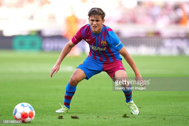 Pablo Paez Gavi of FC Barcelona with the ball during a pre-season friendly match between VfB Stuttgart and FC Barcelona at Mercedes-Benz Arena on...