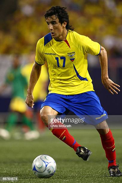 Pablo Palacios of Ecuador looks to pass against Jamaica during their match at Giants Stadium on August 12 2009 in East Rutherford New Jersey