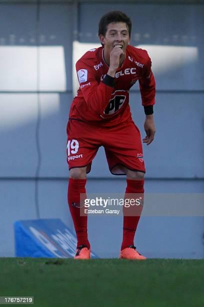 Pablo Parra of Ñublense celebrates a scored goal against U. De Chile during a match between Universidad de Chile and Ñublense as part of the Torneo...