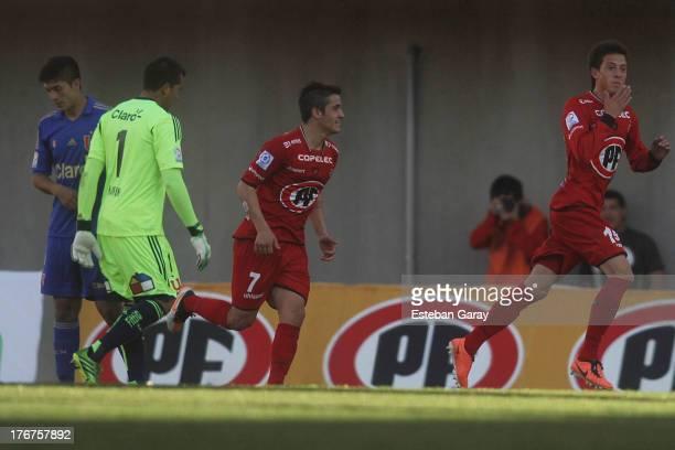 Pablo Parra of Ñublense celebrates a scores goal gainst U. De Chile during a match between Universidad de Chile and Ñublense as part of the Torneo...