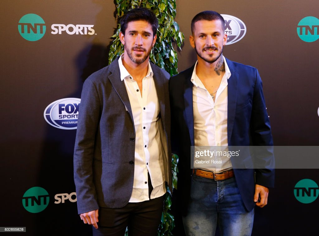 Pablo Perez and Dario Benedetto of Boca Juniors pose during AFA's Superliga Official Launch at Hilton Hotel on August 15, 2017 in Buenos Aires, Argentina.