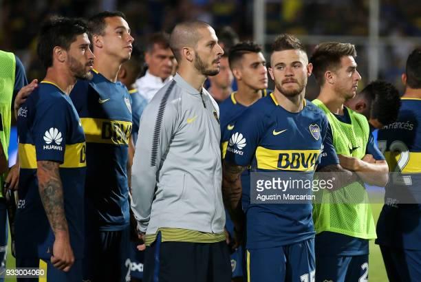Pablo Perez Leonardo Jara Dario Benedetto and Nahitan Nandez of Boca Juniors react after losing the Supercopa Argentina 2018 against River Plate at...