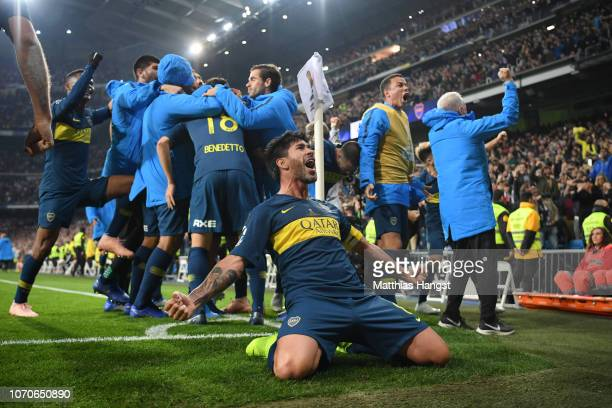 Pablo Perez of Boca Juniors celebrates after Dario Benedetto of Boca Juniors scores their team's first goal during the second leg of the final match...