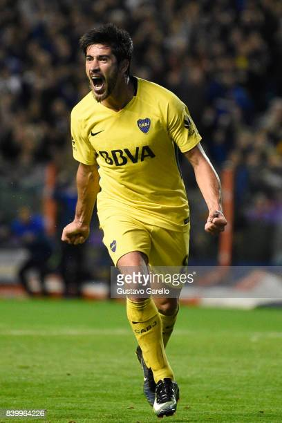 Pablo Perez of Boca Juniors celebrates after scoring the second goal of his team during a match between Boca Juniors and Olimpo as part of Superliga...