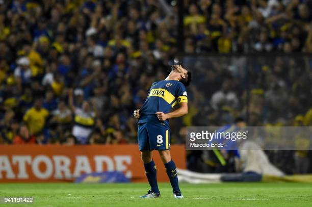 Pablo Perez of Boca Juniors celebrates after scoring the second goal of his team during a match between Boca Juniors and Talleres as part of...