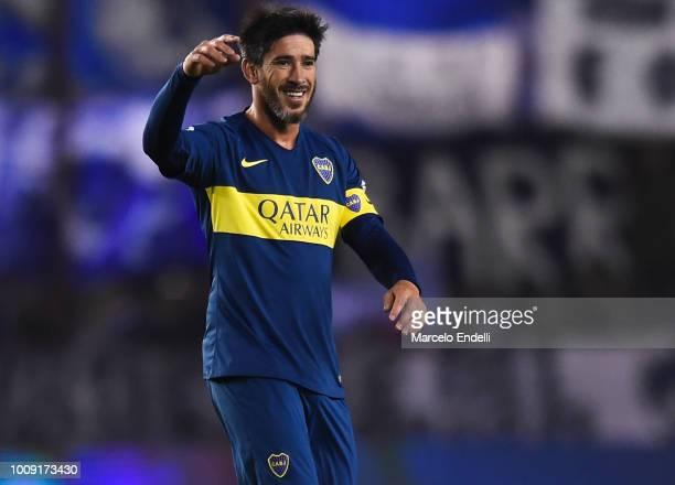 Pablo Perez of Boca Juniors celebrates after scoring the third goal of his team during a match between Boca Juniors and Alvarado as part of Round of...