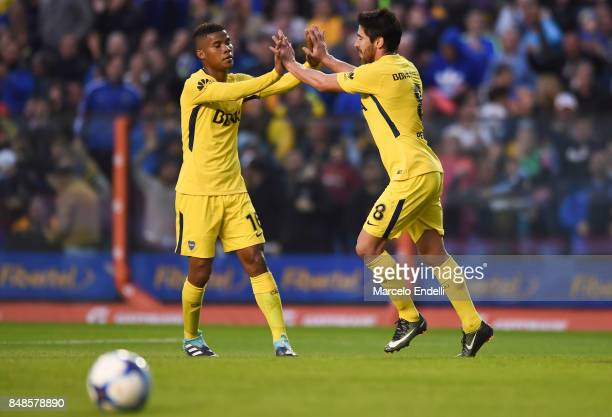 Pablo Perez of Boca Juniors celebrates with teammate Wilmar Barrios after scoring the second goal of his team during a match between Boca Juniors and...