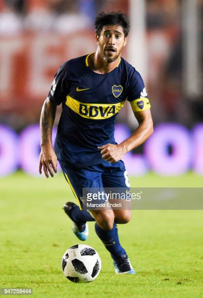 Pablo Perez of Boca Juniors drives the ball during a match between Independiente and Boca Juniors as part of Superliga 2017/18 on April 15 2018 in...