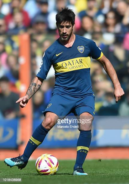 Pablo Perez of Boca Juniors kicks the ball during a match between Boca Juniors and Talleres as part of Superliga Argentina 2018/19 at Estadio Alberto...