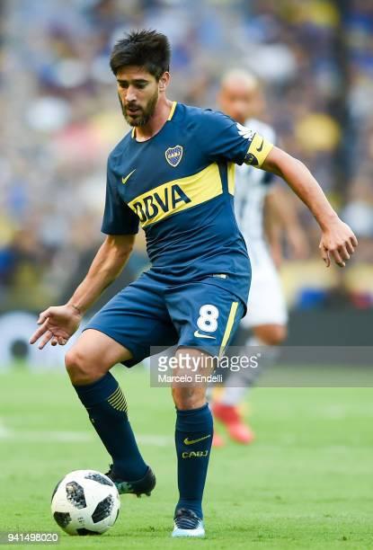 Pablo Perez of Boca Juniors kicks the ball during a match between Boca Juniors and Talleres as part of Superliga 2017/18 at Alberto J Armando Stadium...