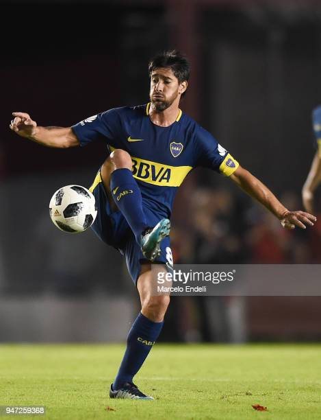 Pablo Perez of Boca Juniors kicks the ball during a match between Independiente and Boca Juniors as part of Superliga 2017/18 on April 15 2018 in...