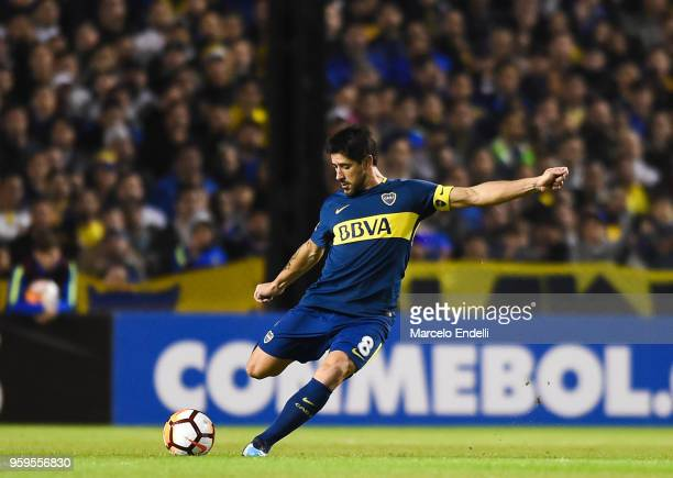 Pablo Perez of Boca Juniors kicks the ball during a match between Boca Juniors and Alianza Lima at Alberto J Armando Stadium on May 16 2018 in La...
