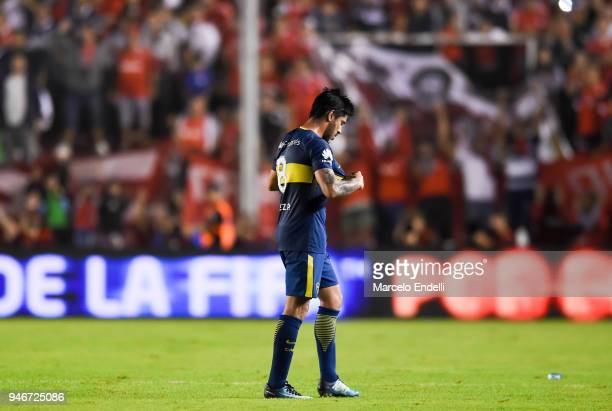 Pablo Perez of Boca Juniors leaves the field after receiving a red card during a match between Independiente and Boca Juniors as part of Superliga...
