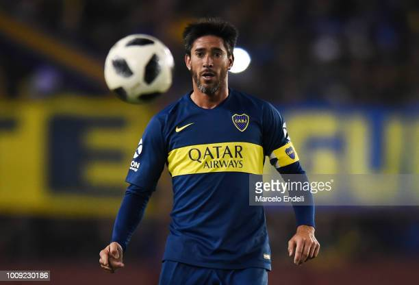 Pablo Perez of Boca Juniors looks at the ball during a match between Boca Juniors and Alvarado as part of Round of 64 of Copa Argentina 2018 on...