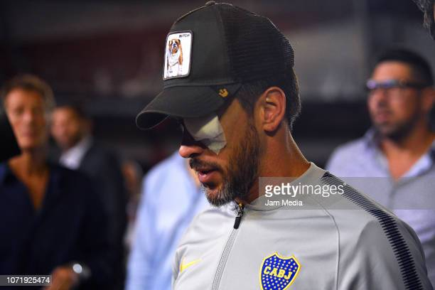 Pablo Perez of Boca Juniorsgestures during the second leg final match of Copa CONMEBOL Libertadores 2018 between River Plate and Boca Juniors at...