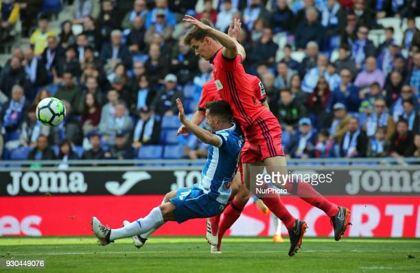 Pablo Piatti and Diego Llorente during the match between RCD Espanyol and FC Barcelona on 11th March 2018 in Barcelona Spain