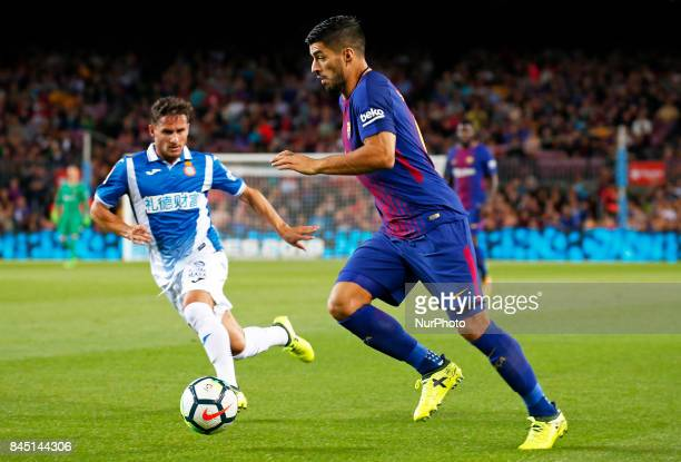 Pablo Piatti and Luis Suarez during La Liga match between FC Barcelona v RCD Espanyol in Barcelona on September 09 2017