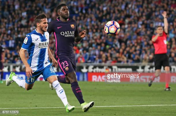 Pablo Piatti and Samuel Umtiti during the match between RCD Espanyol and FC Barcelona on April 29 2017