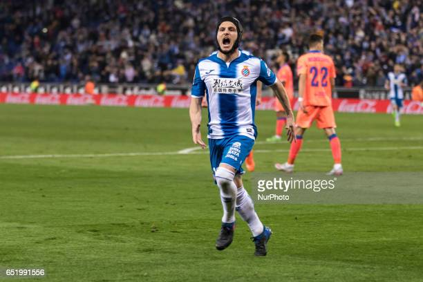 Pablo Piatti celebrates scoring the goal during the match between RCD Espanyol vs Las Palmas for the round 27 of the Liga Santander played at RCD...