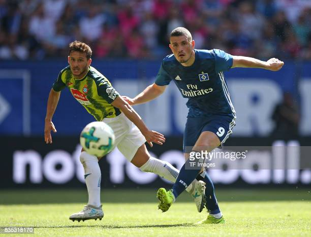 Pablo Piatti of Espanyol Barcelona and Kyriakos Papadopoulos of Hamburg battle for the ball duringthe preseason friendly match between Hamburger SV...