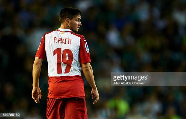 Pablo Piatti of RCD Espanyol looks on during the match between Real Betis Balompie vs RCD Espanyol as part of La Liga at Benito Villamarin stadium on...