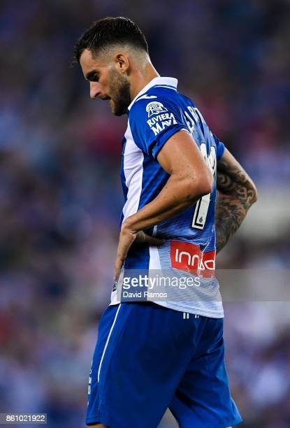 Pablo Piatti of RCD Espanyol reacts after missing a chance to score during the La Liga match between Espanyol and Levante at CornellaEl Prat stadium...