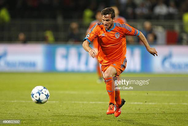 Pablo Piatti of Valencia CF in action during the UEFA Champions league match between Olympic Lyonnais and Valencia CF at Stade de Gerland on...