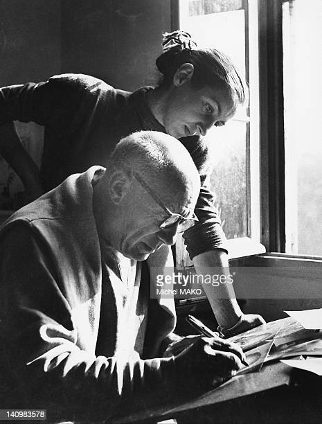 Pablo Picasso and Francoise Gillot 1950 in Vallauris France