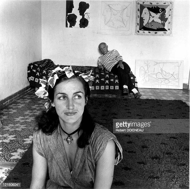 Pablo Picasso And His Wife Francoise Gilot Vallauris
