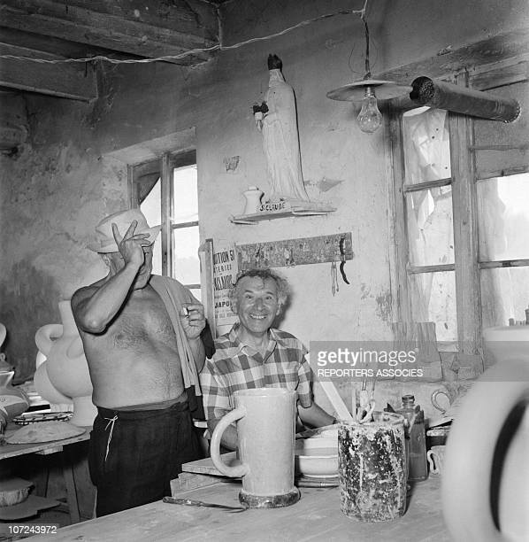 Pablo Picasso and Marc Chagall at the Madoura ceramics workshop in 1948 in Vallauris France
