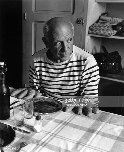 Pablo Picasso At Lunch Vallauris 1952